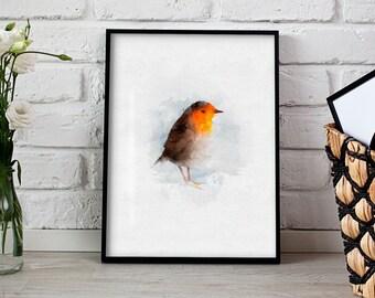 Robin Poster Print // Digital Watercolour Print // Original Art // Christmas Gift // Wall Art