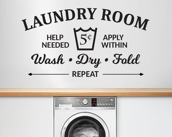 Laundry Room Vinyl Wall Decal / Stickers - Wash, Dry, Fold, Repeat