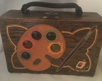 Vintage Frazier Originals 1950's Box Handbag Hand Painted