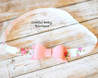 Floral Elastic Headband, Pink Faux Leather Headband, Children Headband, Baby Headband