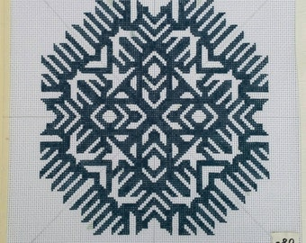 "Handpainted Needlepoint Canvas, Symmetric Design, Teal, 10""x10"""