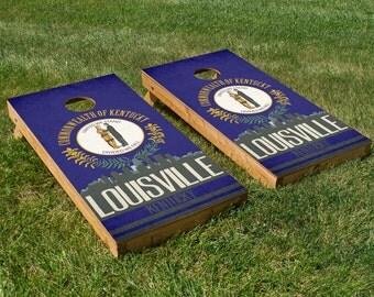 Louisville State Flag Skyline Cornhole Board Set