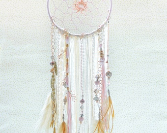 Dream Catcher, Boho Dreamcatchers, bohemian, peach, beige, gold, girls nursery décor, crystal metallic materials, wall hanging, bead strands