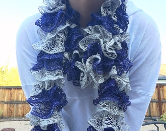 Blue and Silver Ruffle Scarf