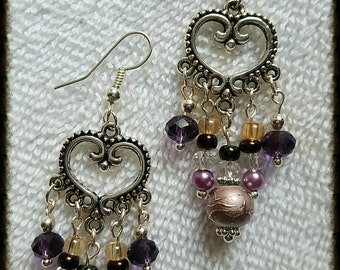 Merlot Themed Chandelier Earrings