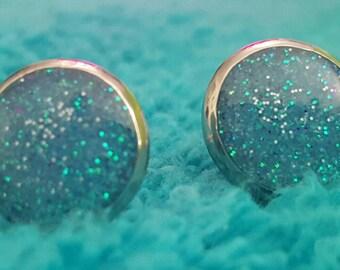 Light Blue 10mm Stainless Steel Earrings #0016