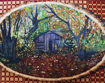 Cottage in a Forest Wood Painting