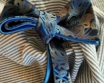 Blue Paisley Bow