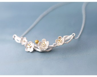 Cherry Blossom Branch Necklace 925 Sterling Silver (Free US Shipping)