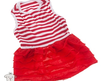 Dog clothes, red stripe vest dress for puppies and small dogs.