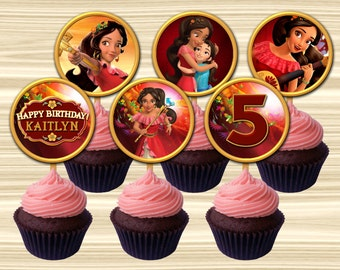 Elena Of Avalor Cupcake Toppers. Princess Elena Cupcake Topper. Elena Cake Topper. Diy Princess Elena Birthday Party. 2 inch Circle.