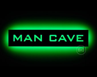 Lighted Man Cave Sign - Bright LED Sign / Plaque for Your Man Cave, Sports Den, or Shop