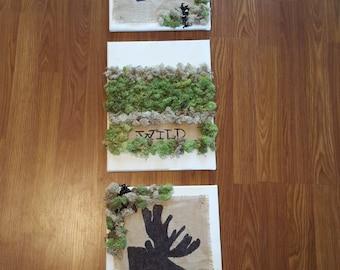 3 set burlap and moss wall art