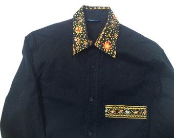 M Valdrome Provencal Cowboy Cowgirl Shirt French Vintage