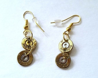 Bullet Jewelry- Double 380 Caliber Bullet Dangling Earrings