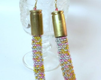 Bullet Jewelry- 9 mm Bullet Seed Bead Earrings