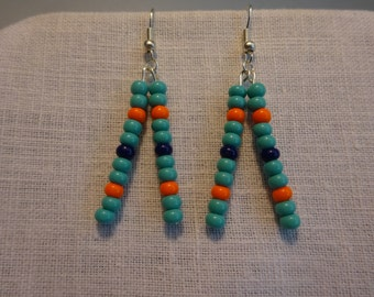 Miami Dolphins Glass Bead Earrings