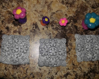 set of 3 stepping stones for dollhouse fair garden hadcrafted