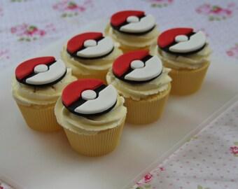 Fondant pokemon cupcake toppers. Pokeball - Pokemon Go Pokemon party