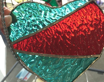 Turquoise and Red Stained Glass Heart