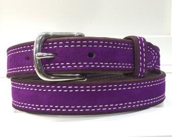 Purple Suede Belt, Purple Leather Belt, Purple Belt, Lavender Belt, Lilac Belt, Womans Belt, Ladies Belt, Suede Belt, Leather Belt, Fashion