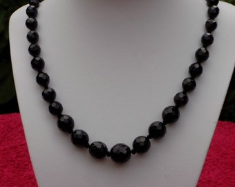 Vintage necklace black faceted glass beads