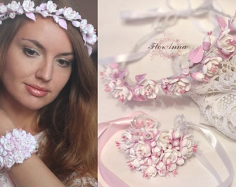 jasmine jewelry, jasmine wreath, blue hairpiece, bridesmaids jasmine, jasmine bracelet, flower crown, bridal blue corsage, pink headband