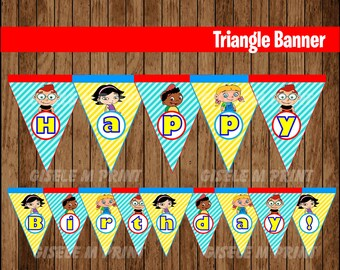 Little Einsteins Banner, Printable Little Einsteins Triangle Banner, Little Einsteins party Banner instant download
