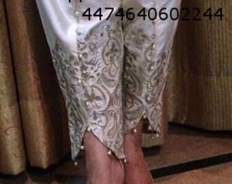 LAdies tulip trousers pants shalwar silk embroidery off white indian pakistani designer