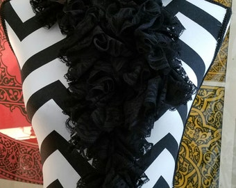 Sassy Black Lace Ribbon Fabric Crocheted Scarf. Women's Scarf. Fabric Scarf. Crochet Scarf. Gift for Her. Ready to Ship