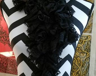 Sassy Black Lace Ribbon Crocheted Scarf