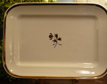 Red Cliff Iron Stone Serving Tray Tea Leaf Pattern