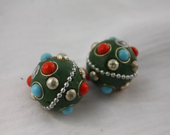 2 PCS 25mm Green Polymer Clay Beads Silver Chain Embellished Handmade