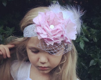 Pink double flower headband with lace, feathers and netting