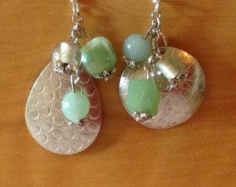 Silver beauty earrings with misty blue green beads, silver earwires and silver wire.  2 inches