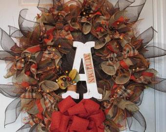 Autumn Burlap and Mesh Wreath, Orange and Brown Fall Wreath