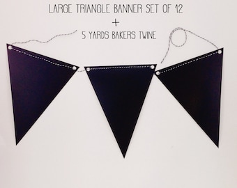 Chalkboard Large Triangle Banner Pennant Banner Triangle Banner DIY Banner Bakers Twine Set Of 12