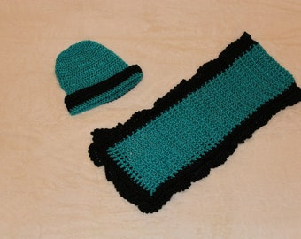 Crochet Teal Hat and Scarf, Teal and Black Hat and Scarf, Green Hat and Scarf, Green Well-Being Hat and Scarf Set