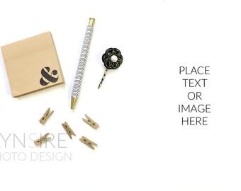 Styled Stock Photo | Desk Flatlay Gold and Black Minimalist | Photography Digital Image