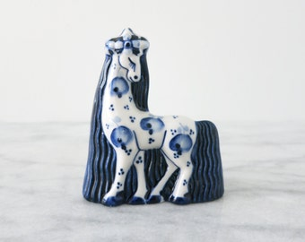 Vintage Russian Gzhel Horse Pony Figurine, Chinoiserie, Horse Lover Gift, Porcelain, Equestrian Gift, Gift for Horse Lover Rustic Home Decor
