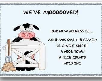 Printed Personalised change of address new home moving house cards cow x10 with envelopes