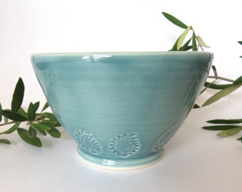 Green Stamped Porcelain Soup Bowl, Cereal Bowl, Chili Bowl, Paisley Dish