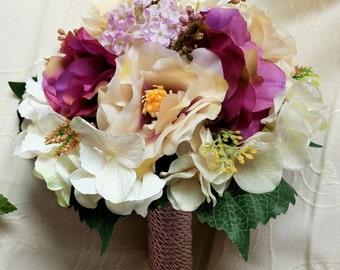 Purple and beige Bouquet - Wedding Bouquet