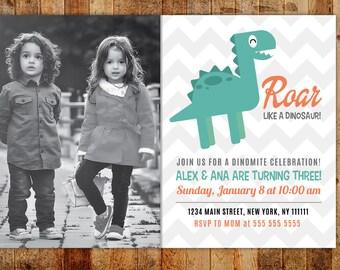 Green Dinosaur Birthday Party Invitations with Child Photo