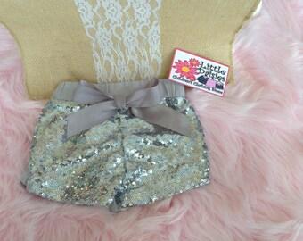 Silver Sequin Shorts