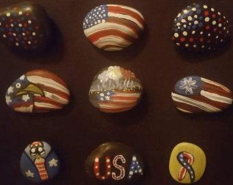 Handpainted patriotic rocks