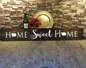 "Home Sweet Home | Iowa Gift | Welcome Gift | Home Decor | 36"" Wood Sign 