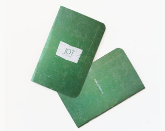 JOT. Books -- Green Worn Canvas Pocket Notebook -- (pack of 3)