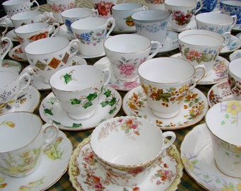 Job Lot 10 Vintage English China Matching Sets Tea Cups & Saucers - Parties