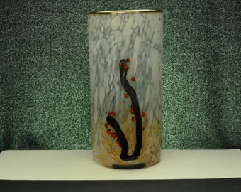 hand blown glass vase with unique design